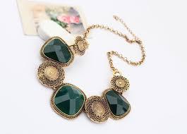 statement necklace wholesale images Dark green imitation gemstone short chain statement necklace jpg