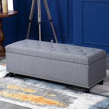 Gray Storage Bench 48
