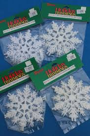 lot white glitter plastic snowflakes retro ornaments