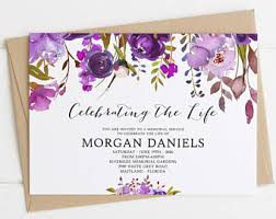 funeral service invitation floral template etsy