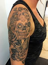 skull arm sleeve dia de los muertos skull with roses and butterfly tattoo on right