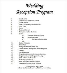 wedding program format wedding reception program 10 wedding program templates free sle