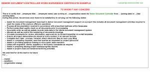 sample document controller cover letter cover letter format