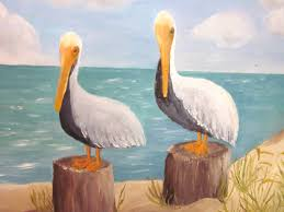 vintage pelicans oil painting pelicans on pylons at the beach