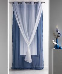 Double Panel Shower Curtains Double Sheer Grommet Curtain Panel Robin Blue White