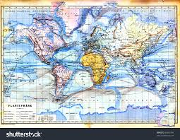 Vintage Map Old Map Planisphere World Map Colors Stock Photo 86652340