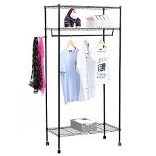 songmics heavy duty garment rack with top and bottom shelves 3
