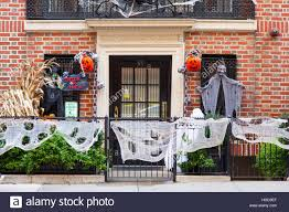 halloween decorations on a house on e77 street manhattan new