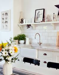 white painted kitchen with marble worktop and butler sink like the
