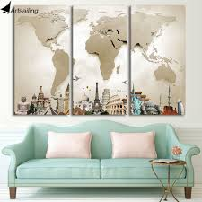 World Map Framed Hd Printed 3 Piece Canvas Art Vintage World Map Painting Room