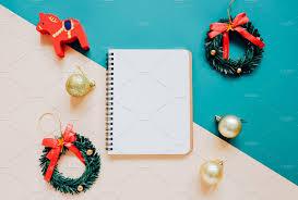 flat lay of christmas and notebook holiday photos creative market