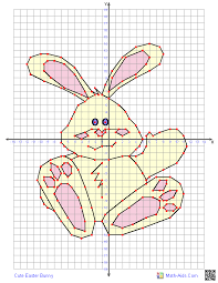 four quadrant graphing worksheets for easter math aids com