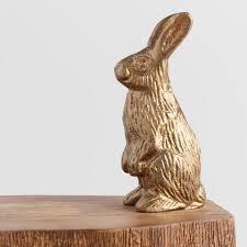 ceramic nature rabbit table l brass rabbit on tree block table l world market