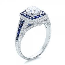 engagement rings with halo deco style blue sapphire halo and engagement ring