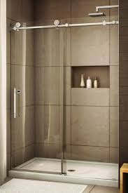 Glass Doors For Showers Glass Shower With Sliding Glass Door Recessed Storage Large