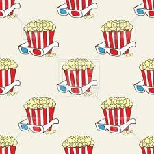popcorn baskets seamless pattern with popcorn baskets and eyeglass vector