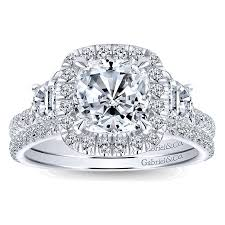 engagement rings cushion cut 14k white gold 3 diamond cushion cut halo 14k white gold