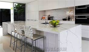kitchen island with bar top calacatta white engineered quartz bench tops quartz