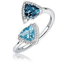 london blue topaz engagement ring london blue swiss blue topaz diamond open ring in 10k white gold