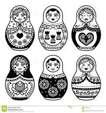 matryoshka russian doll icons set stock illustration image
