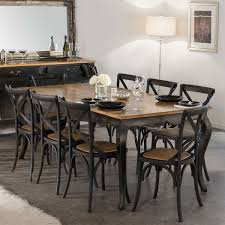 provincial oak table black with 8 cross back chairs black package