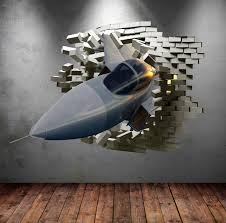 army fighter jet plane cracked bricks 3d wall sticker urban