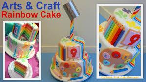 gravity defying back to cake arts u0026 craft rainbow cake