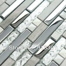 metal backsplash tiles for kitchens interlocking mosaic tiles stainless steel glass blend