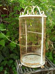 large vintage wrought iron birdcage white rusty indoor outdoor