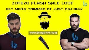 rs 1 sale zotezo flash sale loot get men u0027s trimmer at just rs