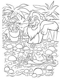 simba timon pumbaa waterfall lion king coloring