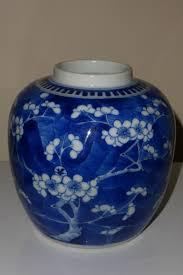 chinese blue white ginger jar vase blossoming prunus kangxi 4
