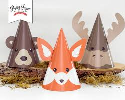 woodland animal party hats instant download fox moose