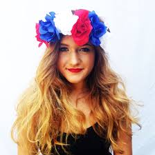 Red Flag White Flower White And Blue Flower Crown Roses Floral Headband Coachella Hair