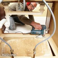 How To Replace A Sink Base Cabinet Floor Family Handyman - Kitchen cabinet repairs