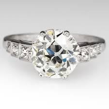 deco engagement ring late deco diamond engagement ring crown motif 2 carat