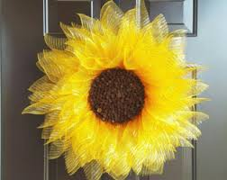 sunflower mesh wreath sunflower wreaths etsy