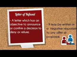 letter of refusal youtube
