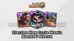 clash of clans hog rider electro hog cycle mania for arena 7 above clash royalepedia
