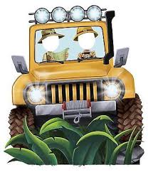 safari jeep front clipart jungle party jeep standee party prop 4 5 tall photo op safari