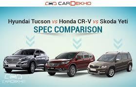 compare honda crv and hyundai tucson hyundai tucson vs honda cr v vs skoda yeti spec comparison