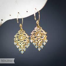 chandelier earring gold aquamarine chandelier earring