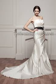 celebrity inspired mermaid strapless wedding dress with a black