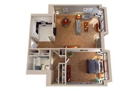 22 comfortable one bedroom apartment design in 3d plan