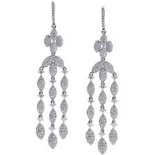 diamond chandelier earrings white gold 5 36 ct diamond womens chandelier earrings