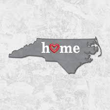 North Carolina State Map by State Map Outline North Carolina With Heart In Home Painting By
