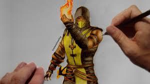 scorpion speed drawing timelapse mortal kombat x youtube