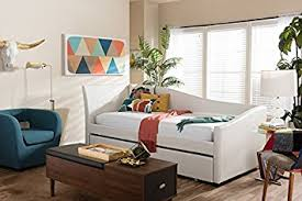 amazon com baxton studio vera faux leather twin daybed in white