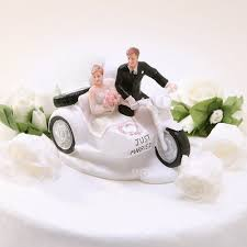motorcycle wedding cake toppers just married and groom driving motorcycle cake topper