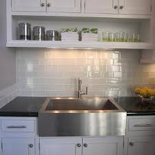 kitchen sink backsplash white glass tile backsplash design ideas